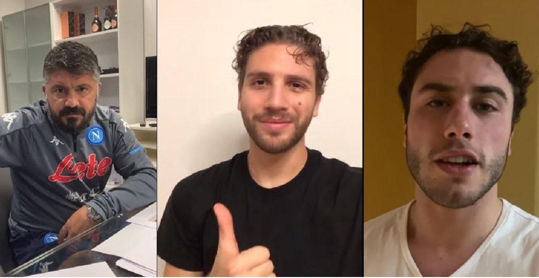 Gattuso, Locatelli e Calabria durante i loro video