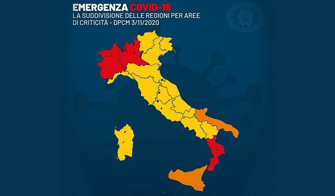La mappa dell'Italia ripartita in aree