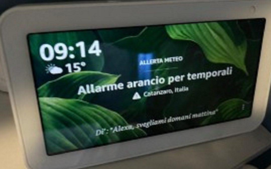 L'allerta meteo su Catanzaro diffusa dai dispositivi Amazon