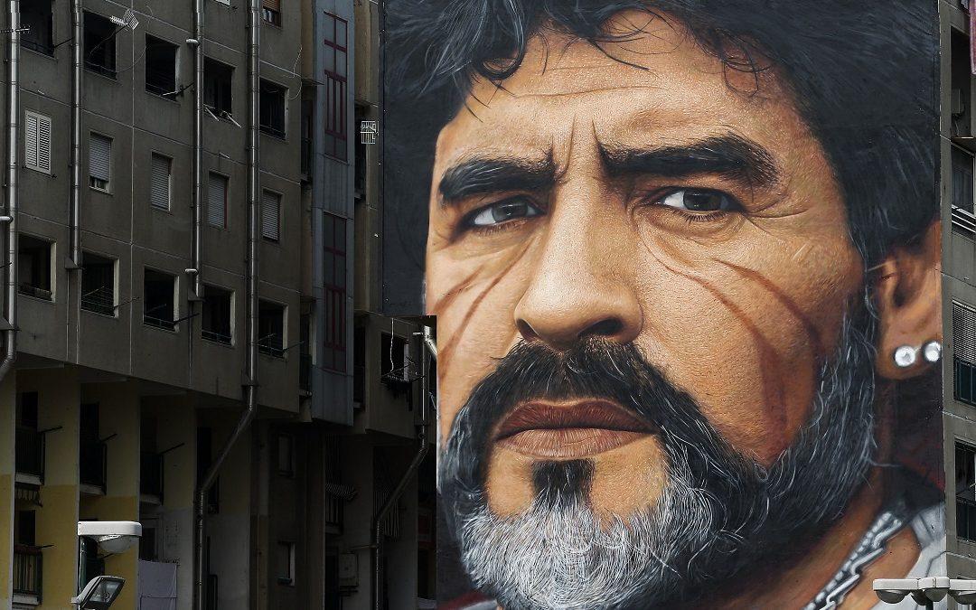 Il murales di Jorit a Napoli, nel quartiere di San Giovanni a Teduccio, raffigurante Diego Armando Maradona