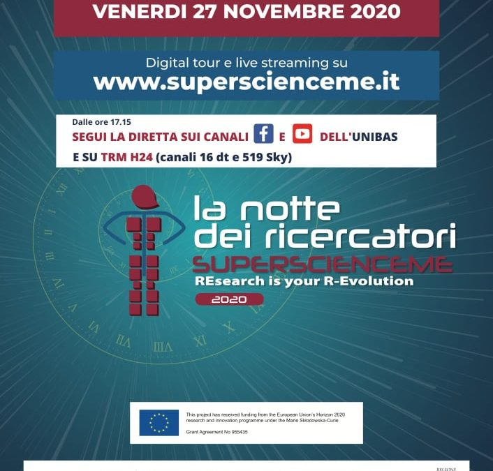 "Il 27 novembre la Notte dei Ricercatori ""SuperScienceMe – REsearch is your R-Evolution"""