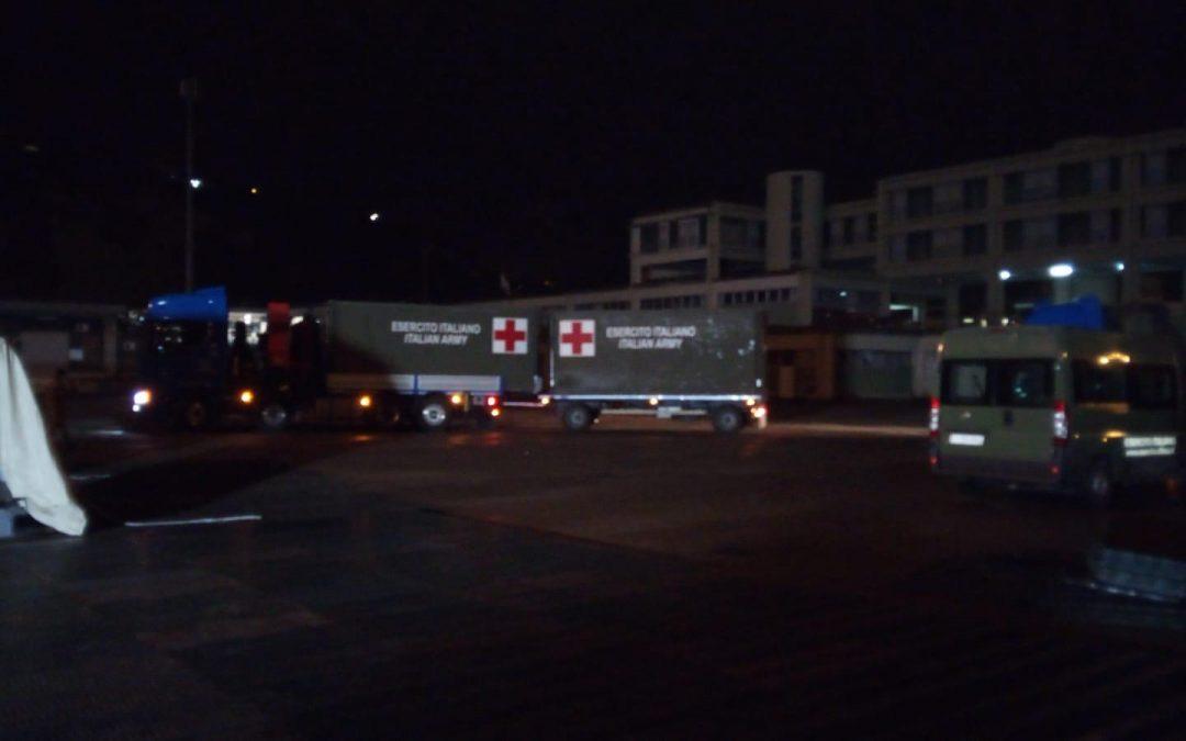 FOTO – L'ospedale da campo dal Libano arrivato a Cosenza