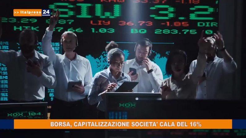 Borsa, capitalizzazione società cala del 16%