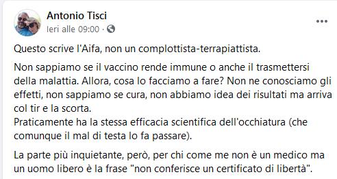 Il post di Antonio Tisci