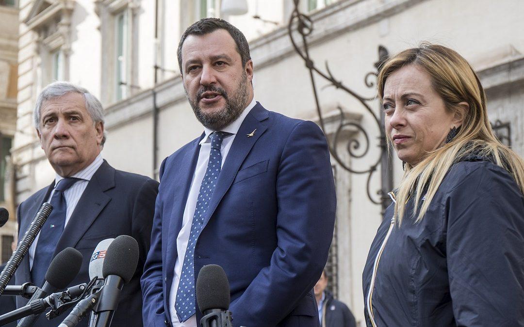 Antonio Tajani, Matteo Salvini e Giorgia Meloni