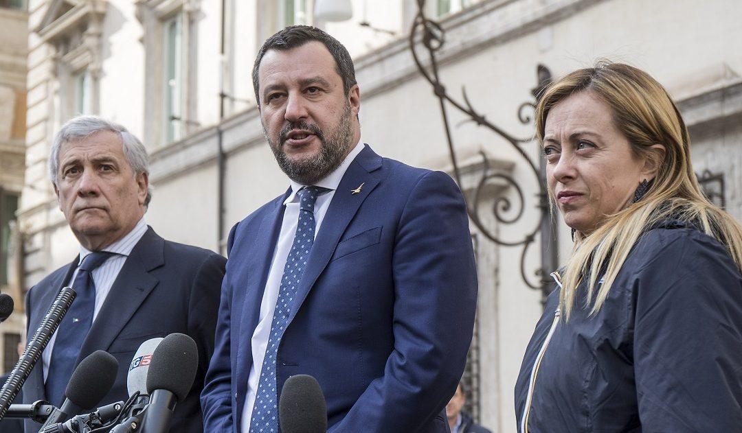 Da sinistra, Tajani, Salvini e Meloni