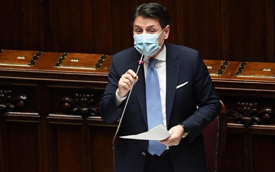 Giuseppe Conte durante il discorso alla Camera