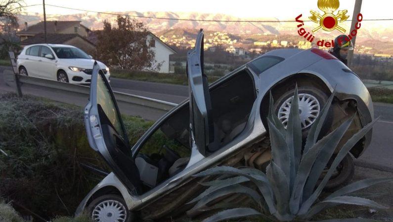 Sbanda con l'auto e resta in equilibrio sui rami delle piante grasse: incidente a Rose (Cosenza)