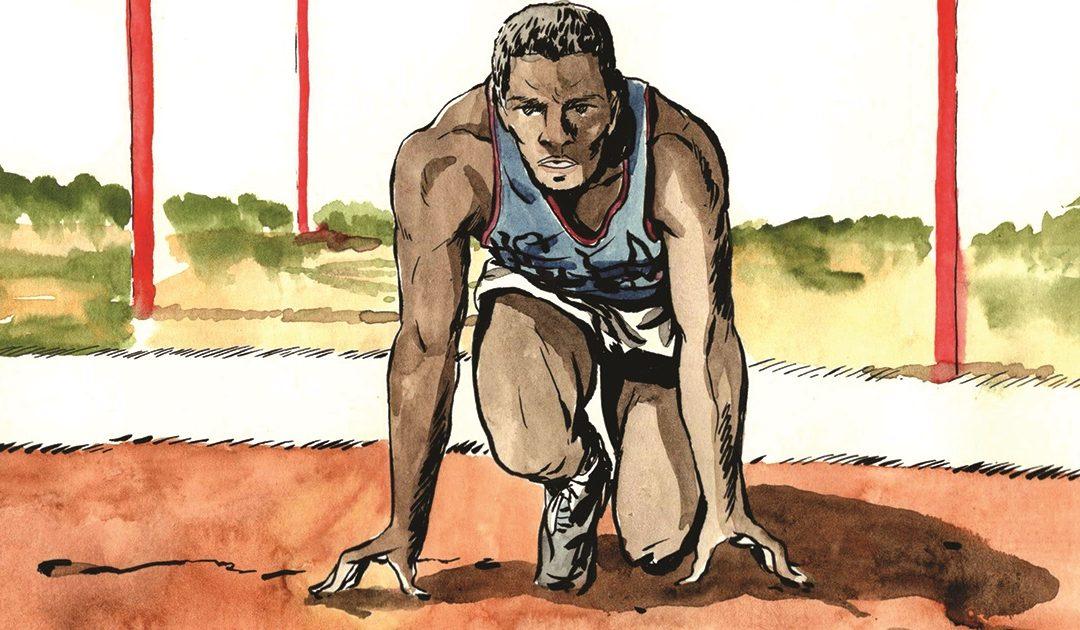 Rafer Johnson in una illustrazione di Roberto Melis