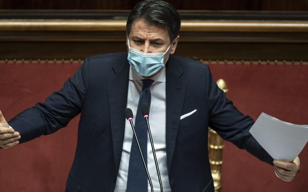 Giuseppe Conte durante il suo intervento a Palazzo Madama