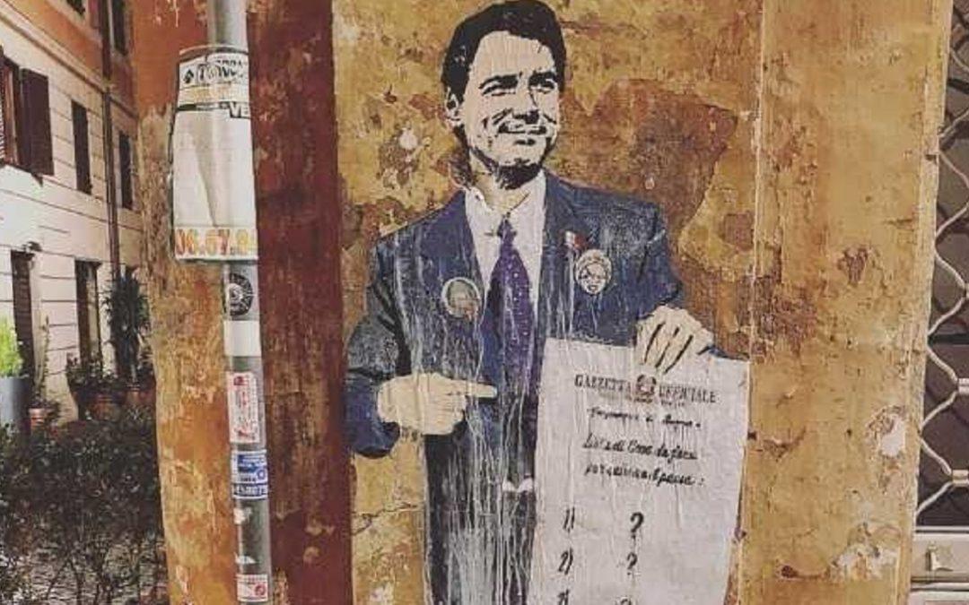 Un murale dedicato a Giuseppe Conte