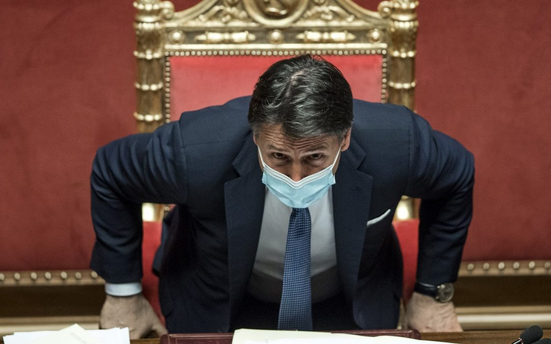 Giuseppe Conte nel giorno della fiducia in Senato