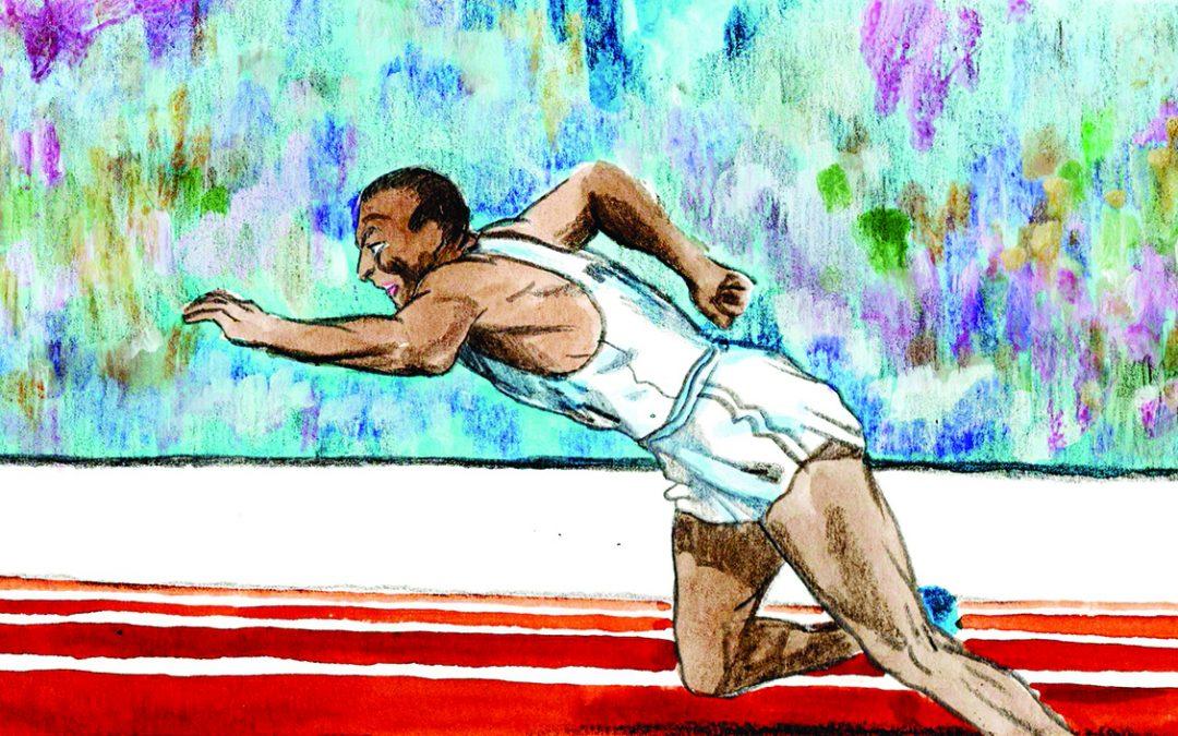 Jesse Owens in una illustrazione di Roberto Melis
