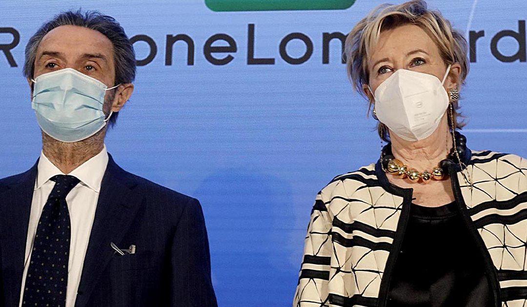 Il presidente della Regione Lombardia Attilio Fontana con l'assessore Letizia Moratti