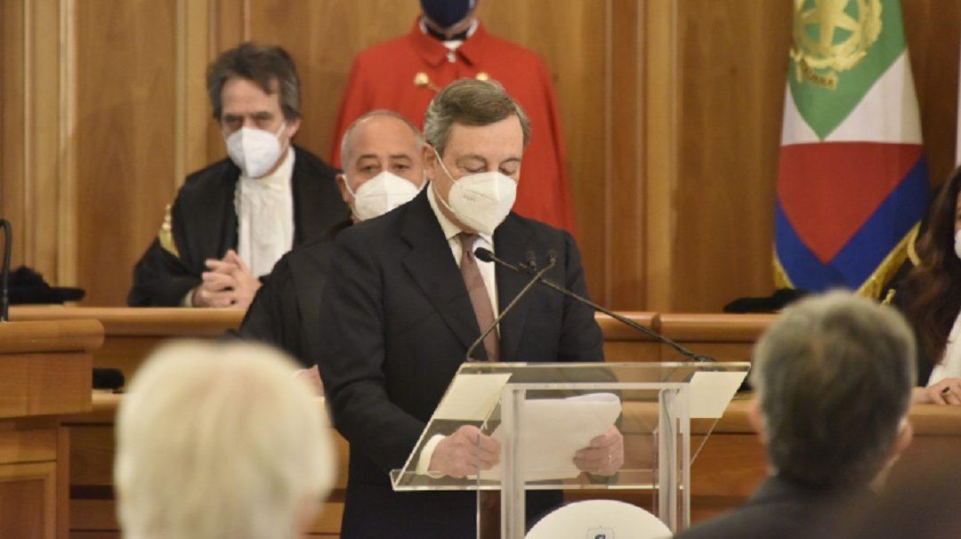 Il presidente del Consiglio Mario Draghi alla cerimonia di inaugurazione dell'anno giudiziario