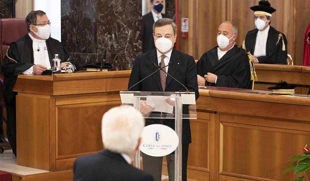 Mario Draghi alla Corte dei Conti nel febbraio 2021