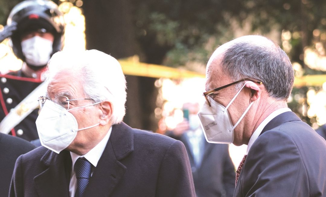Il Presidente della Repubblica Sergio Mattarella con il Presidente della Corte dei Conti Guido Carlino