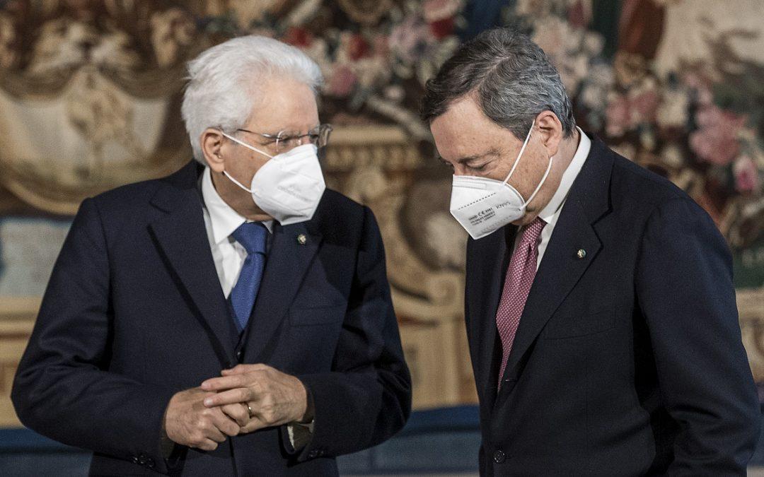 Il presidente della Repubblica Sergio Mattarella con il premier Mario Draghi