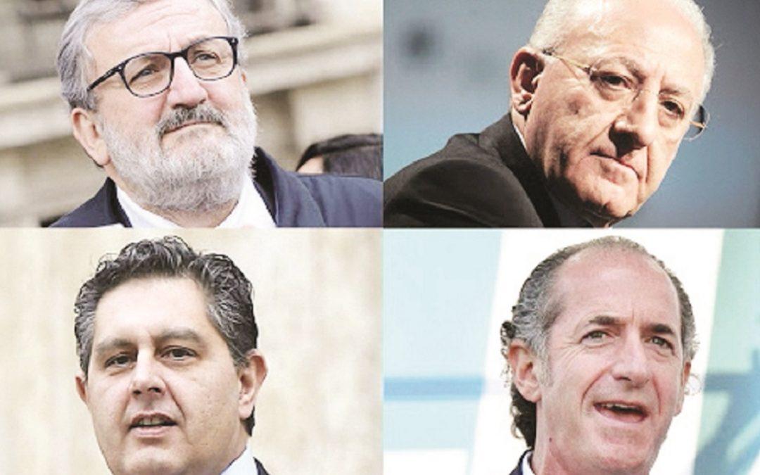 I governatori Michele Emiliano, Vincenzo De Luca, Giovanni Toti e Luca Zaia