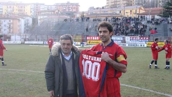 Volturno insieme all'ex presidente Marino, nel giorno che celebrava le 100 presenze con il Potenza