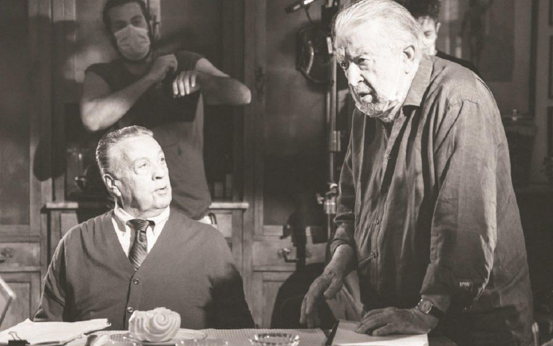 """Pupi Avati e Renato Pozzetto sul set di """"Lei mi parla ancora"""""""