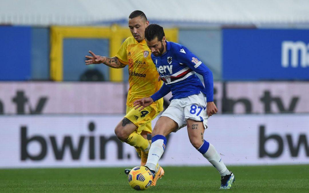 Samp-Cagliari finisce pari, Nainggolan sigla il 2-2 al 96′