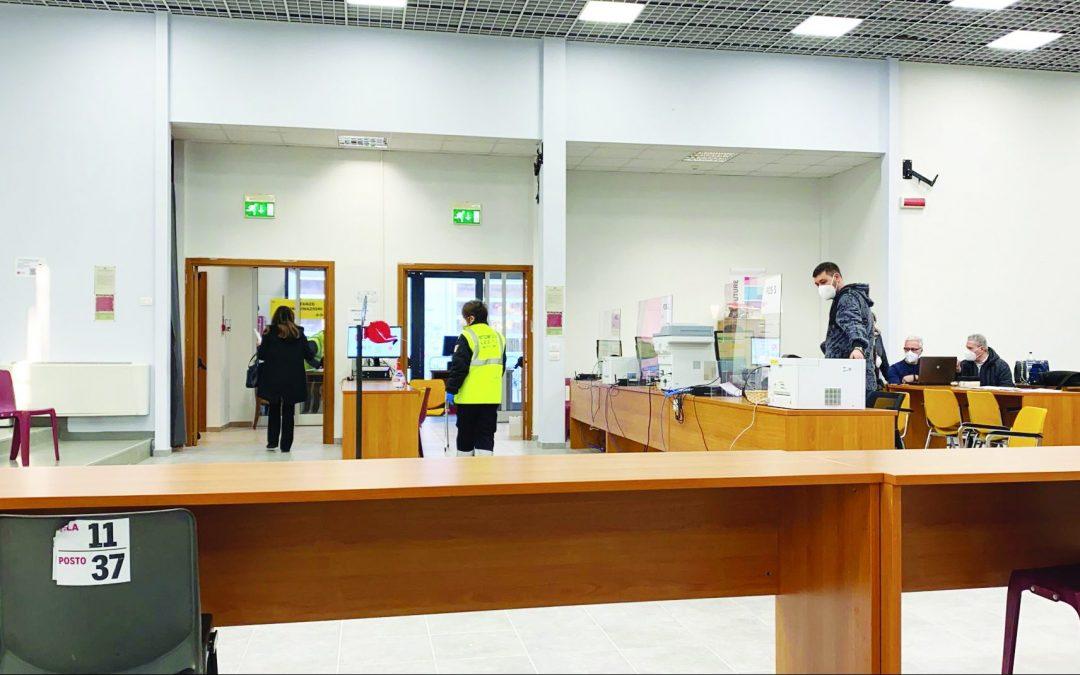 Il centro vaccinale di via Sallustio a Matera