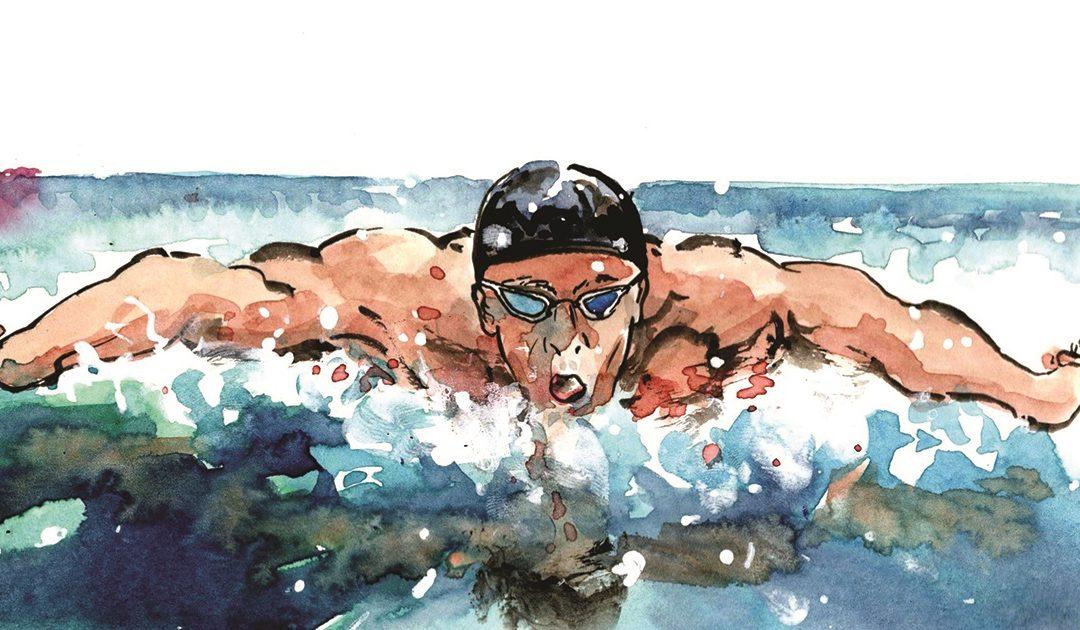 Michael Fred Phelps in una illustrazione di Roberto Melis