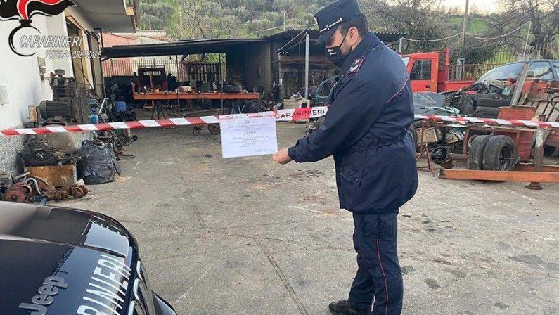Smaltiva rifiuti illegalmente, denunciato il titolare di un'officina nel Cosentino
