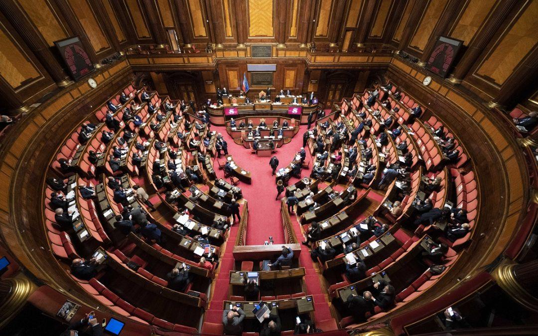 L'aula del Senato durante l'ultimo incontro col presidente del Consiglio Draghi