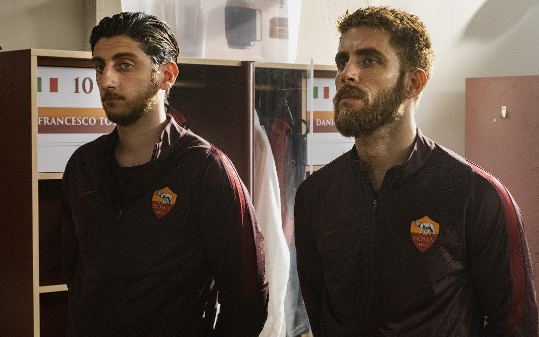 Pietro Castellitto e Marco Rossetti, rispettivamente Francesco Totti e Daniele De Rossi
