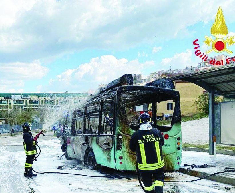 Il bus completamente distrutto dalle fiamme e l'intervento dei Vigili del fuoco