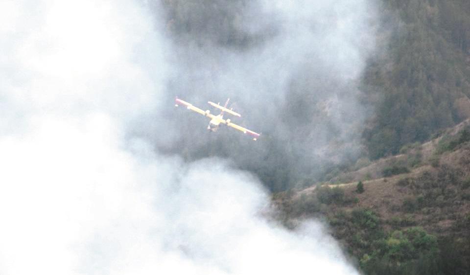 Il Canadair in azione sui boschi di Longobucco