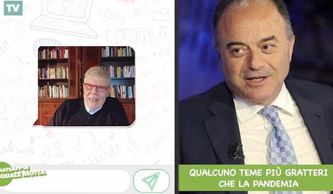 Pasquale Motta durante un Whatsapp (sua trasmissione editorialista) su Nicola Gratteri
