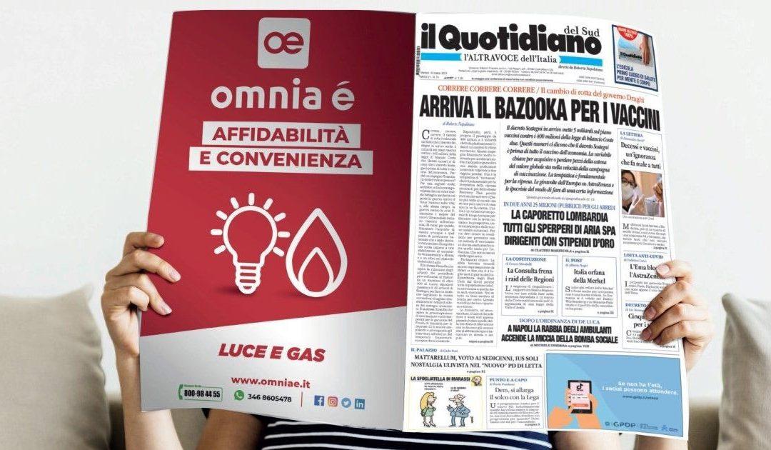 """""""L'informazione che ti illumina e ti riscalda a costo zero"""", nasce la sinergia tra Quotidiano del Sud e Omnia é"""