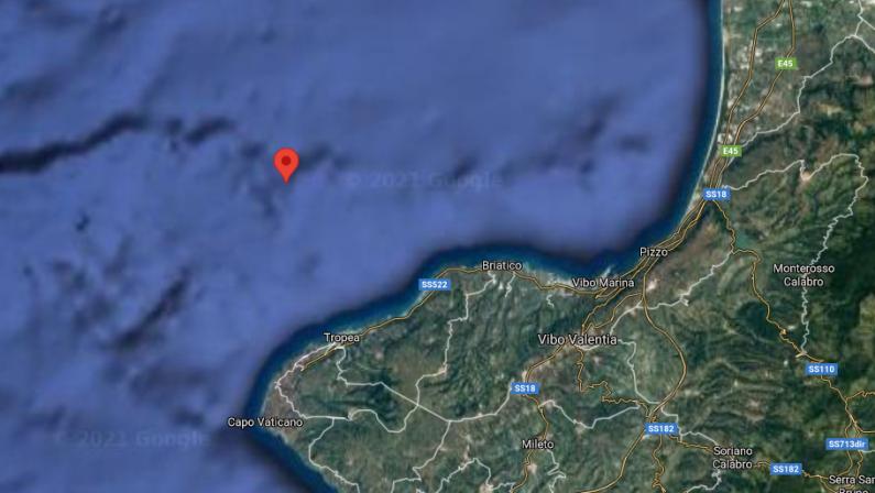 Terremoto in mare davanti la costa di Tropea, magnitudo 3.2