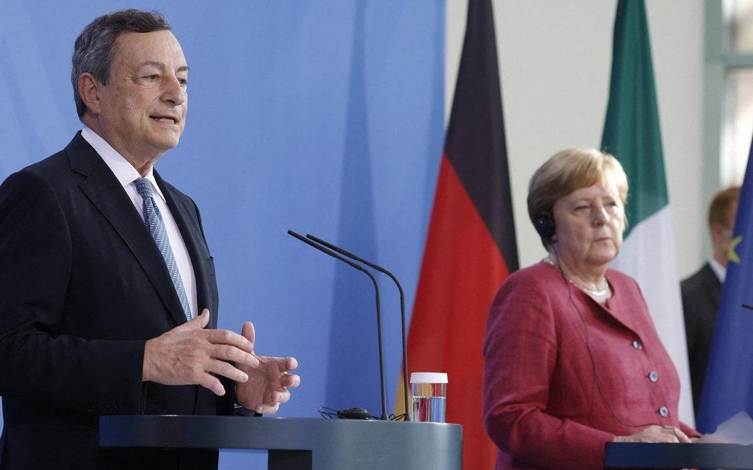 Mario Draghi e Angela Merkel