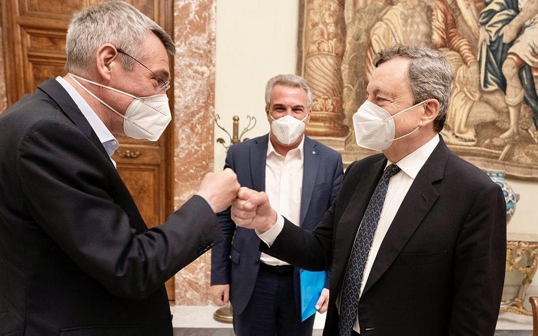 Maurizio Landini, Luigi Sbarra e Mario Draghi
