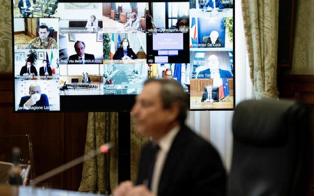 Un vertice di Mario Draghi con le Regioni
