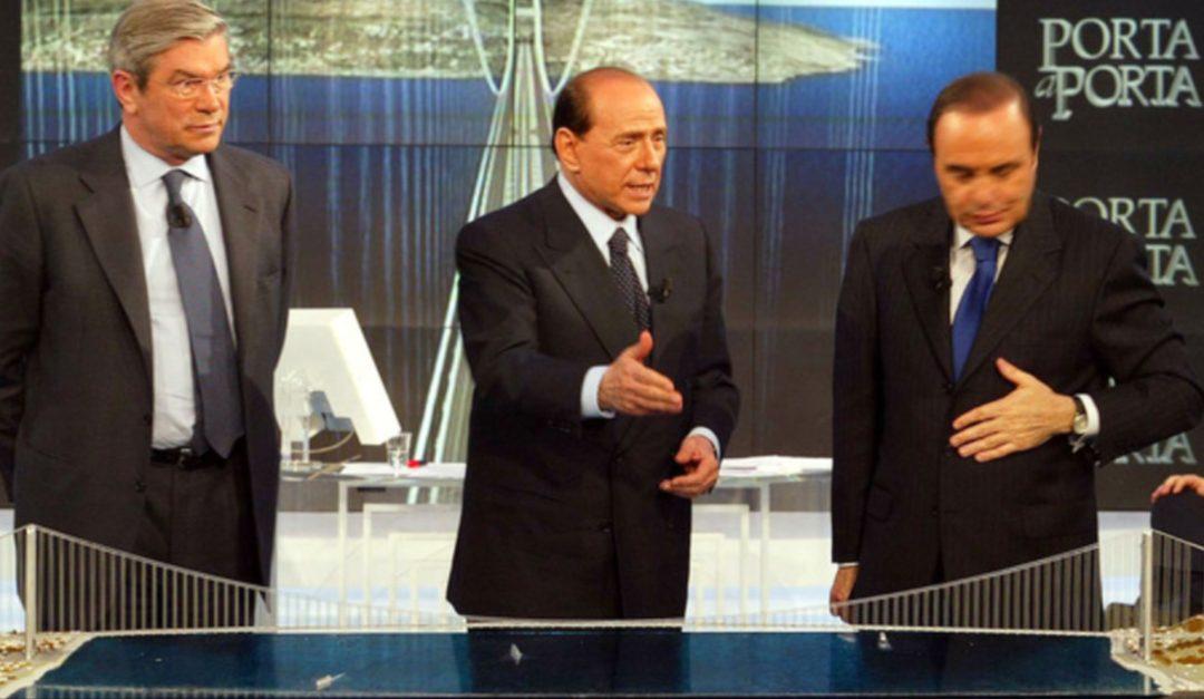 Pietro Lunardi, ex ministro delle Infrastrutture, insieme a Berlusconi da Vespa a parlare del Ponte sullo Stretto nel 2002