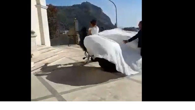 La sposa arriva a cavallo ma l'animale è esausto e stramazza al suolo