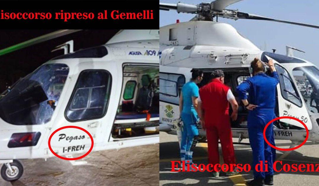 L'elisoccorso fotografato al Gemelli con lo stesso codice identificativo del velivolo in servizio a Cosenza
