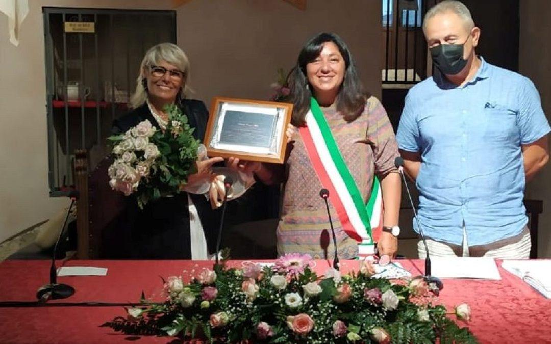 Franca Melfi con il sindaco e il vicesindaco di Oriolo