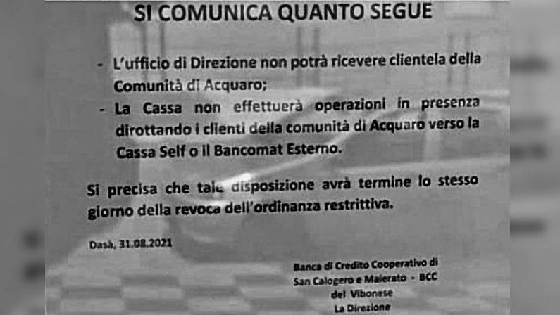 Covid, la Bcc leva il cartello che vietava l'ingresso ai cittadini di Acquaro