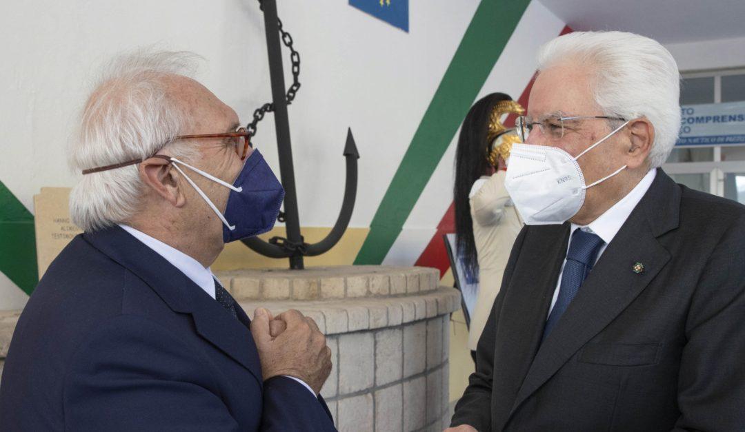 Il ministro dell'Istruzione Patrizio Bianchi all'Istituto  Tecnico Nautico e Aeronautico di Pizzo con Mattarella