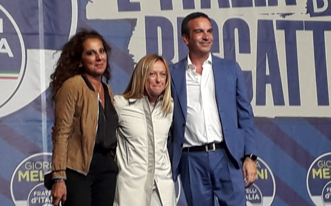 Wanda Ferro, Giorgia Meloni e Roberto Occhiuto a Catanzaro
