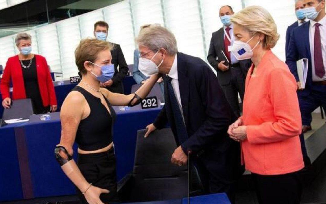 Bebe Vio con Paolo Gentiloni e Ursula von der Leyen