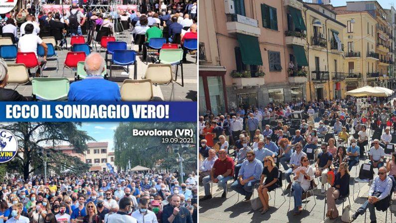 Salvini attacca Letta: «Da te non c'era nessuno» e il Pd ribatte: «Modifica le immagini con photoshop»