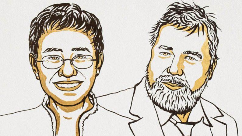 Il premio Nobel per la pace assegnato ai giornalisti Maria Ressa e Dmitry Muratov